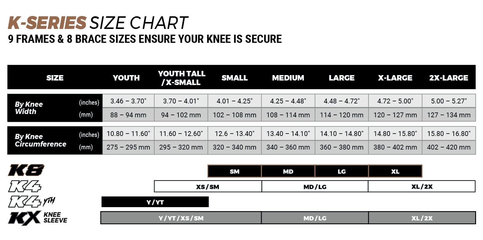 Pod Active motocross knee brace sizing chart